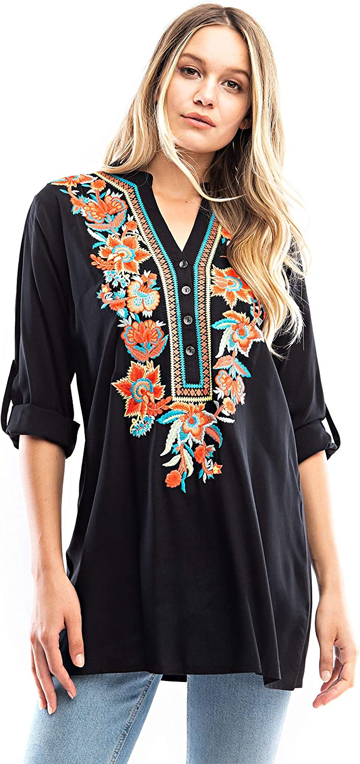 Solitaire Manufacturer direct delivery Ranking TOP17 Embroidered Tunic Half-Placket
