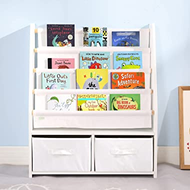 MallBest Childrens Bookshelf Kids Sling Book Rack with Two Storage Boxes and Toys Organizer Shelves Natural Solid Wood Baby B