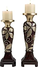 OK Lighting Folius Candleholder Set Brown and Gold