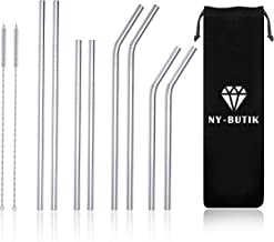NY-BUTIK Pack of 8 - Reusable Stainless Steel Metal Straws with Travel Pouch, Long Drinking Straws for 30 Oz and 20 Oz Tum...