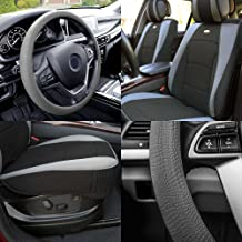 FH Group PU205102 Ultra Comfort Leatherette Cushion Pad Pair Set Seat Covers Gray Black Color w. FH3001 Gray Silicone Steering Wheel Cover- Fit Most Car, Truck, SUV, or Van