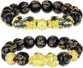 2 Pezzi 12 mm Bracciale di Feng Shui Perline Braccialetto Cinese con Intagliato a Mano Nero Braccialetto di Perle di Amule...