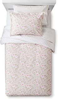 Simply Shabby Chic Rose Floral Dutchess Blossom 3 Piece Duvet Cover and Shams Set, Size: King, Tan with Pink