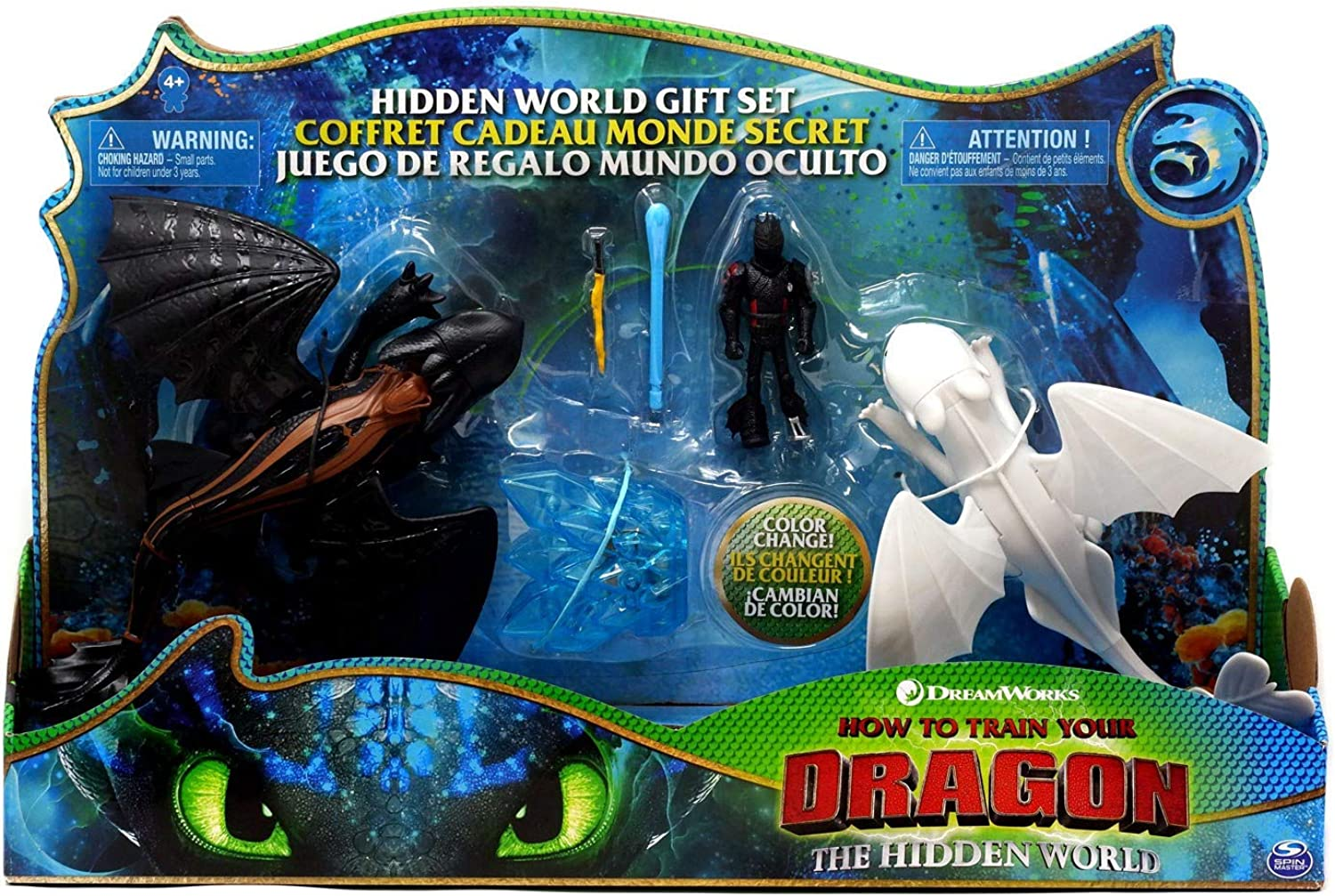 How to Train Your Dragon 3  The Hidden World Gift Set Toothless and Lightfury Dragons with Hiccup and color Change Reveal Crystal