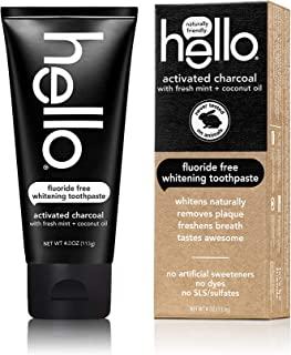 HELLO Activated Charcoal FLOURIDE FREE Whitening Toothpaste with Fresh Mint + Coconut Oil - 2 Pack of 4 oz each (8 oz total)