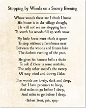 Stopping by Woods on a Snowy Evening Poem Robert Frost Poetry Art Print Unframed