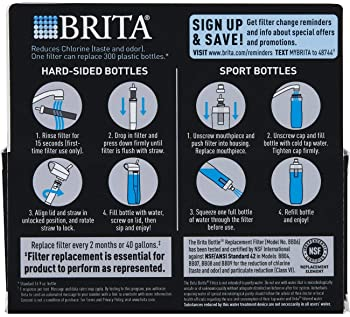 Brita Water Bottle Filter Replacements - BPA Free - 2 Count