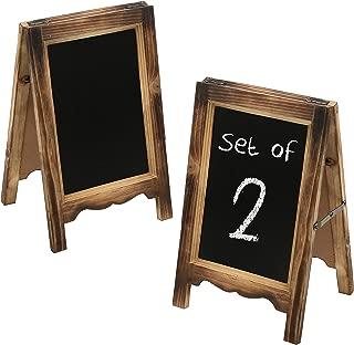 MyGift Set of 2 Burnt Wood 15-Inch A-Frame Dual-Sided Chalkboard Sign
