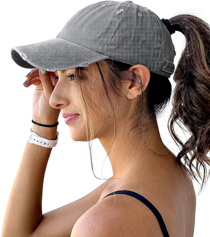 Lvaiz Womens Distressed Baseball Cap Mens Mesh Back Sport Hat Versatile Washed Dad Hat with Ponytail Hole