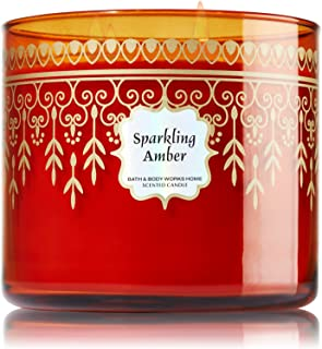 1 X Bath and Body Works Sparkling Amber 3 Wick Scented Candle 14.5 Oz. 2014 Edition
