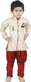 JBN Creation Boys' Gold Cotton Silk Kurta and Pyjama Set(VASBSW077)