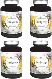 Aloha Medicinals - Pure Cordyceps - Certified Organic Mushrooms – Cordyceps Militaris – Cordyceps Sinensis - Supports Immunity, Energy and Stamina - 525mg - 90 Vegetarian Capsules (4 Pack)