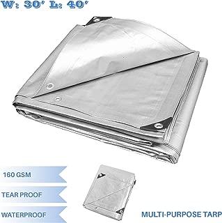 E&K Sunrise 30' x 40' Finished Size General Multi-Purpose Tarpaulin 10-mil Poly Tarp - Silver