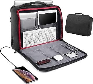 USB Laptop Bag 15.6in Laptop Briefcase Messenger Shoulder Bag for Men Women