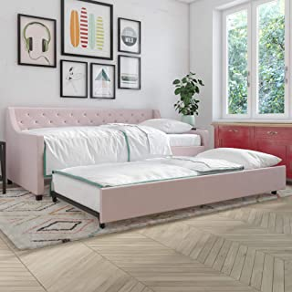 Novogratz 4330739N Her Majesty Upholstered Daybed with Trundle, Twin Size Frame, Pink Linen