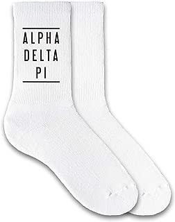 Sorority Name Printed in Black on White Ladies Crew Socks