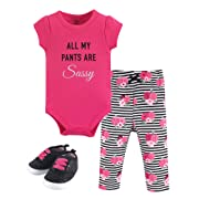 Little Treasure Unisex Baby Cotton Bodysuit, Pant and Shoe Set, Sassy Pants, 3-6 Months