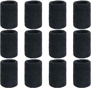 ZWOOS 12 stuks absorberende zweetband voor tennis, squash, badminton, gymzaal, basketbal, zwart