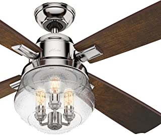 Hunter Fan 54 inch Traditional Polished Nickel Indoor Ceiling Fan with LED light and Remote Control (Renewed)