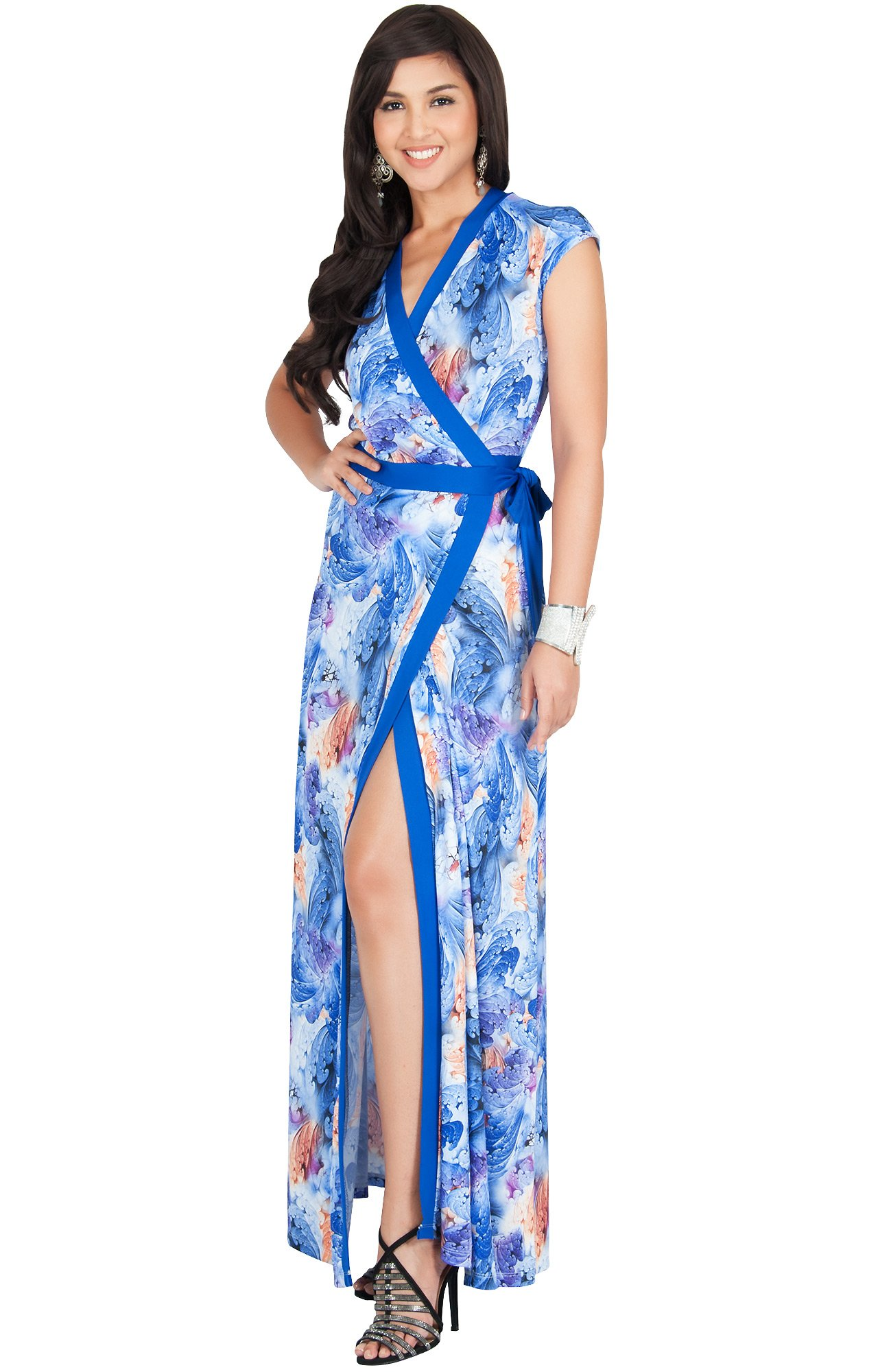 Available at Amazon: KOH KOH Women's Long Cap Sleeve Sexy Wrap Floral Print Summer Sundress Maxi Dress