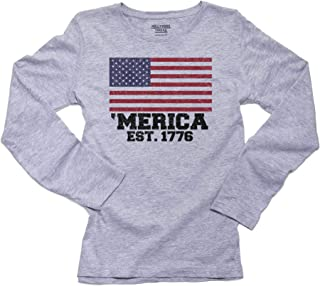 Hollywood Thread 'Merica EST, 1776 - Patriotic American Flag Women's Long Sleeve T-Shirt