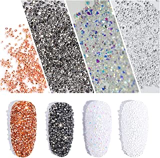 4000PCS Mini Tiny Shine Champagne/AB/Clear/Ore Silver Crystals Set Micro Diamond Sparkly Micro Rhinestones Glass Sand Rhinestone Nail Art Gems