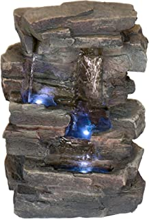 Alpine Corporation 4-Tier Cascading Tabletop Fountain with LED Lights - Indoor/Outdoor Water Fountain Decor - Gray