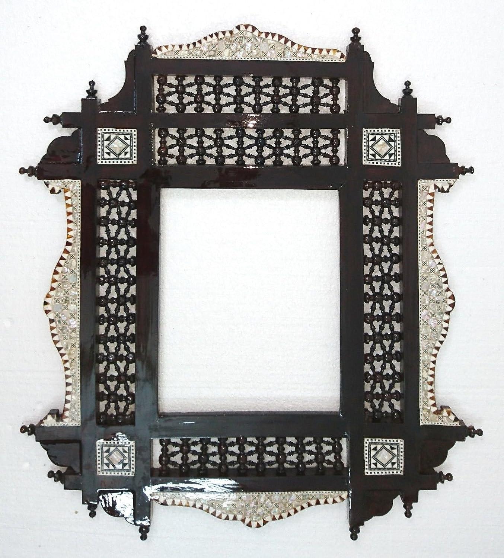W100 Dark Red Brown Arabesque Mother Pearl Wood Mirror Rectangular Frame