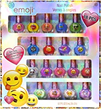 Townley Girl Iconic Emoji Non-Toxic Peel-Off Nail Polish Set for Girls, Glittery and Opaque Colors, Ages 3+ (18 Pack)