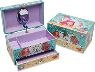 Lucy Locket - 'Magical Mermaid' Musical Jewellery Box for Children - Pink Glittery Kids Jewellery Box with Ring Holder