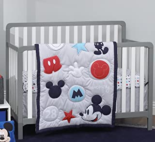 navy and red nursery bedding