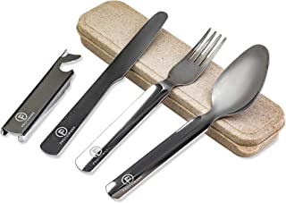 Reusable Travel Utensils with Case: Portable 4 Piece Utensil Set with Knife, Fork, Spoon and Bottle Opener - Stainless Steel Travel Cutlery Silverware for Camping, Backpacking, Hiking, or a Lunch Box