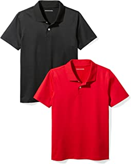 Amazon Essentials Toddler Boys' 2-Pack Performance Polo, Black/Red, 2T