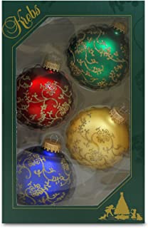 Christmas By Krebs Made in The USA Designer Seamless Gold Glitterlace Decorated Glass Christmas Ball Ornaments, 2 5/8