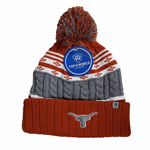 80ea11c3f0d Top of the World Texas Longhorns Official NCAA Cuffed Knit Altitude Beanie  Stocking Stretch Sock Hat