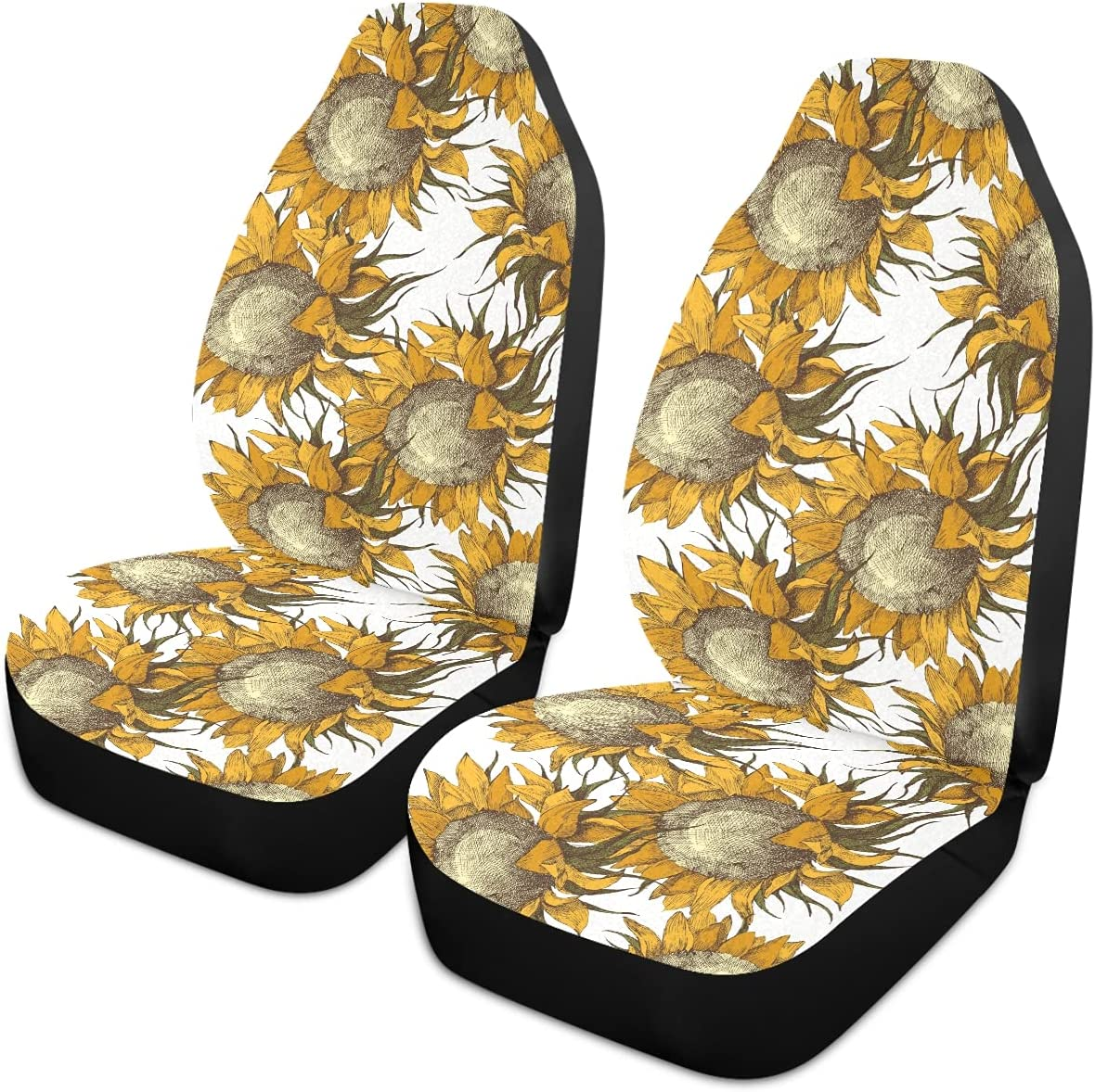 Oarencol Sunflowers ! Super beauty product restock quality top! Vintage Car Seat Universal Covers wholesale Front Auto