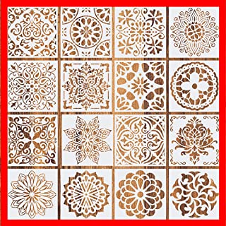 2019 New (6 x 6 inch) Set of 16 - Reusable Mandala Floor Stencil Painting Stencil, Laser Cut Painting Template Floor Wall ...