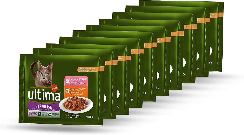 Ultima Comida Húmeda para Gatos Esterilizados - 10 multipacks de 4 x 85 g - Total: 3,4 kg
