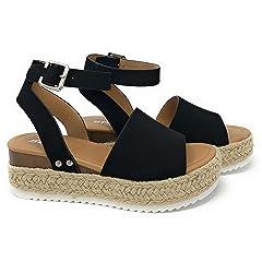 6e192836812 SODA Women s Open Toe Ankle Strap Espadrille Sandal
