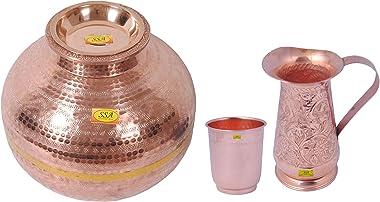 SHIV SHAKTI ARTS 1 Pure Copper Matka Hammered Design Pot Capacity 15Litre with Lid & 1 Curved Style Pure Copper Matka Gla