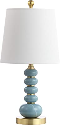 Safavieh Lighting Collection Trace Light Blue Marble Finish/Brass Gold 20-inch Bedroom Living Room Home Office Desk Nightstand Table Lamp (LED Bulb Included)