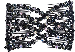 Lovef Easy Magic Hair Beauty Decoration Comb Pearl Stretchy Beaded Hairpin Bow Double Combs Lady in Assorted Color (Black 1)