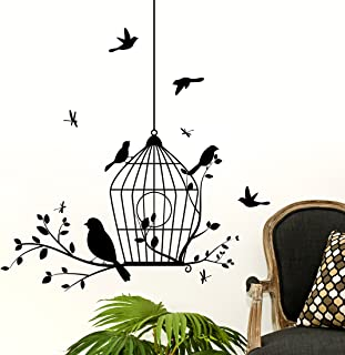 Amazon Brand - Solimo Wall Sticker for Living Room (Black Birds Nest ), Ideal Size on Wall: 80 x 85 cm