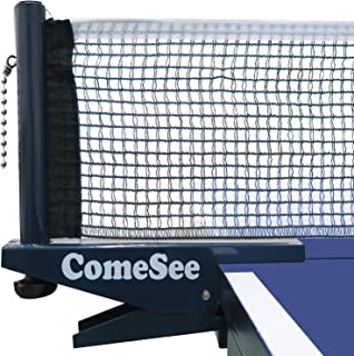 ComeSee Ping Pong Net Set Table Tennis Table Post Professional Spring Activated Clamp with Net Clip Insert, 1.65 Inch Width Grip Holder, Tension and Height Adjustable Easy Set Up (Navy)