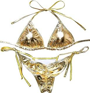 metallic thong bikini