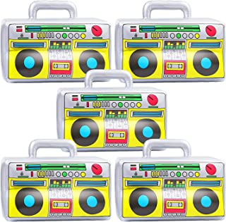 URATOT 5 Pieces Inflatable Boombox 16.5 Inches PVC Radio 80s 90s Party Accessories for Hip Hop Rappers B-Boys Party Decoration Accessory Party Supplies