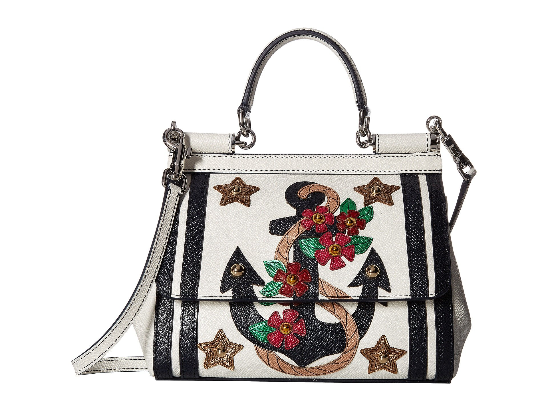 Bolso tipo Satchel para Mujer Dolce and Gabbana Small Miss Sicily Bag with Embroidered Anchor and Studs  + Dolce & Gabbana en VeoyCompro.net