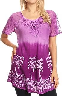 Sakkas Magda Womens Short Sleeve Flare Bohemian Blouse Top Lace Batik Printed