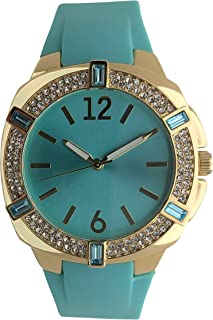Women's Fashion 40mm Boyfriend Watch - Easy to Read Dial with Crystal Bezel and Soft Hypoallergenic Silicone Band
