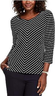 KAREN SCOTT Womens Black Striped 3/4 Sleeve V Neck Top Petites US Size: PP